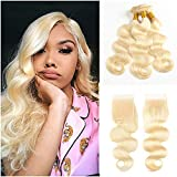 Fabeauty 613 Bundles With Closure Brazilian Body Wave Human Hair Bundles With Closure 4x4 Inch With Baby Hair 100% Human Hair Weave With Lace Closure (18 20 20+16)