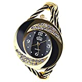 Elegant Round Dial Crystal Decoration Bangle Cuff Bracelet Watch for Women Ladies (Black)