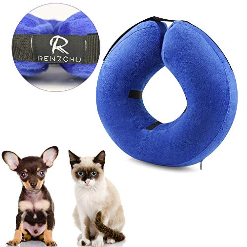 Dog Cone Collar Soft - Protective Inflatable Cone Collar for Dogs and Cats, Soft Pet Recovery E-Collar Cone Small Medium Large Dogs, Designed to Prevent Pets from Touching Stitches-Small (Inflatable Cat Collar)