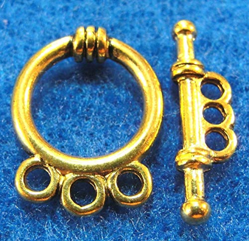 50Sets Wholesale Tibetan Antique Gold 3-Strand Toggle Clasps Hooks Finding Q0316 Crafting Key Chain Bracelet Necklace Jewelry Accessories Pendants - Nina Strand Necklace