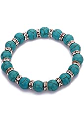 Yazilind Tibetan silver Crystal Round Rimous Turquoise Stretch Bangle Bracelet