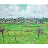 'Camille Pissarro-Landscape At Bazincourt,1884' Oil Painting, 10x12 Inch / 25x30 Cm ,printed On High Quality Polyster...