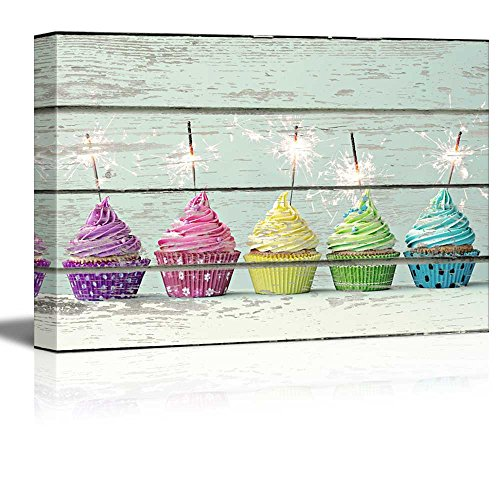 wall26 Canvas Wall Art - Cupcakes on Vintage Wood Textured Background - Rustic Country Style Modern Giclee Print Gallery Wrap Home Decor Ready to Hang - 24