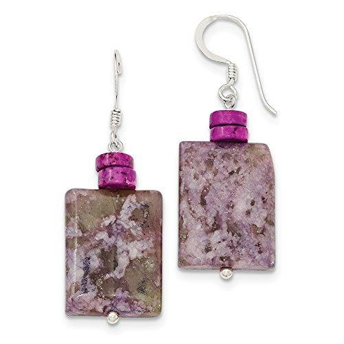 925 Sterling Silver Pink Howlite and Lepidortie Earrings (45mm x (14k Serpentine Earrings)