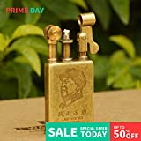 Youfeel JIFENG Pure Copper Flint Lighter Antique Retro Style Brass Wheel Kerosene Lighter Gifts for Collectors Friends Father (Chairman Mao)