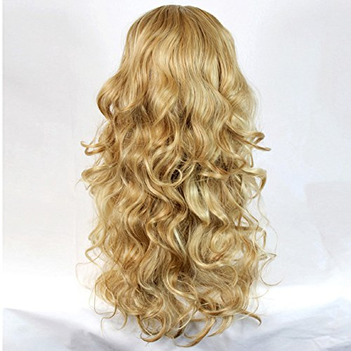curly 3 4 fall hair piece long wavy lady half wig hairpiece pale blonde strawberry blonde and. Black Bedroom Furniture Sets. Home Design Ideas
