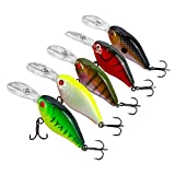 Goture Crankbait Set Hard Fishing Lure, Diving Wobblers Artificial Bait With 3D Eyes and #8 Black Nickel BKK Treble Hook for Freshwater and Saltwater (Pack of 5)