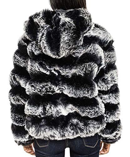 Femmes Veste Capot Fourrure 40 34 Luxe Manteau Fausse Blanc En Noir De Taille Ss7 Y8qtdwd