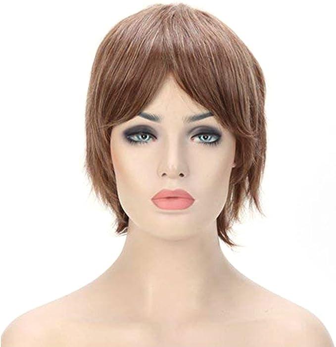 Pelucas Cortas Mujer con Flequillo Pelo Natural liso Fibras ...