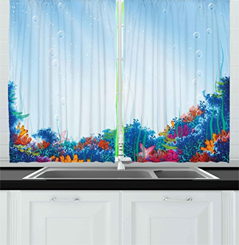 Ambesonne Underwater Kitchen Curtains, Marine Coral Reef Aquatic Scene Starfish Ocean Sea Exotic Nautucal Design, Window Drapes 2 Panels Set for Kitchen Cafe, 55W X 39L Inches, Blue Pink Orange Review