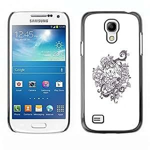 Ihec Tech Guirnalda floral Flores blancas negras / Funda Case back Cover guard / for Samsung Galaxy S4 Mini i9190