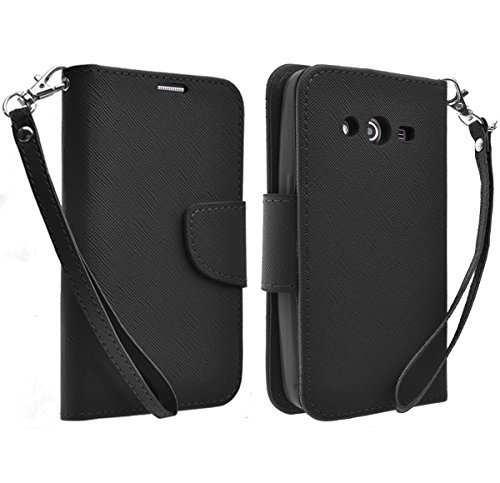 Galaxy Wireless Magnetic Leather Flip Wallet Pouch Samsung Galaxy Avant G386T (T-Mobile), Slim Folio with Kickstand (BLACK WALLET) (Galaxy T Mobile Avant Case Phone)