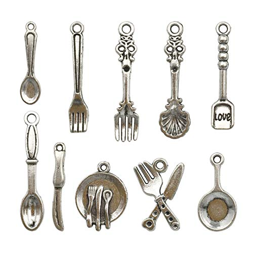 (98 PCS Tableware Charms Collection - Antique Silver Baking Cooking Baker Cook Chef knife Fork Plate Pan Spoon Kitchen Tableware Metal Pendants for Jewelry Making DIY Findings (HM12))