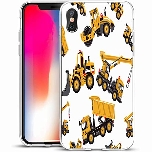 Ahawoso Custom Phone Case Cover for iPhone X/XS 5.8,Cute Yellow Truck Road Roller Bulldozer Dumper Sketch Pattern Industrial Tractor Abstract Auto Baby,Anti-Scratch Soft Rubber Gel/TPU