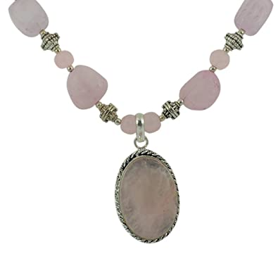 Buy rose quartz crystal necklace with pendant reiki healing rose quartz crystal necklace with pendant reiki healing gemstone aloadofball Images