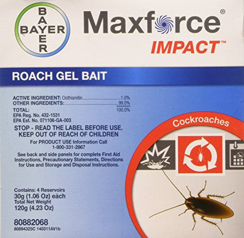 New Maxforce Impact Roach Bait Gel 4 30 Gram Reservoirs with Plunger and Tips -
