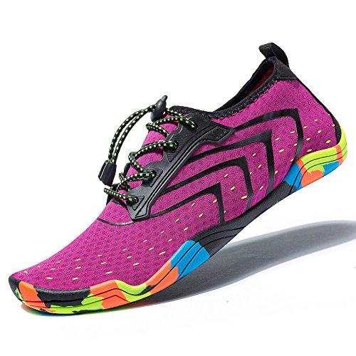 MEET Women Men Unisex Lightweight Water Shoes Quick-Dry Barefoot Flexible Beach Swim Shoes (Size 40 =US Women 9 / Men 7.5, Purple) ()