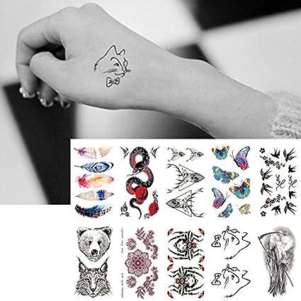 Oottati 10 Hojas Pequeñas Cute Dedo Tatuajes Temporales Colorfur ...
