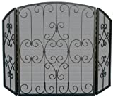 Uniflame Three-panel Graphite Mesh Fire Screen w Ornate Scrollwork Review