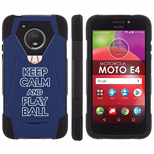 [Mobiflare] Dual Layer Armor Case [Kickstand] for Motorola Moto E [4th Gen] [Black/Black] Mil-Spec - [Play Ball - Tampa Bay]