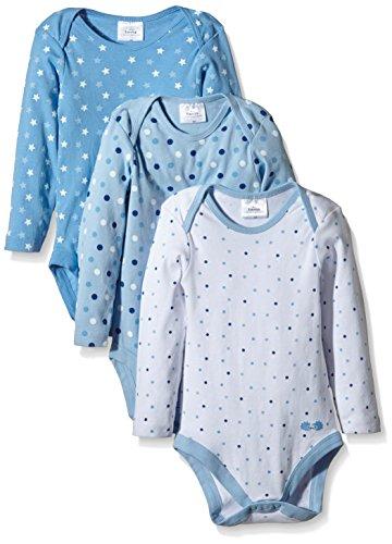 Twins Baby - Jungen Langarm-Body im 3er Pack, Gr. 56, Mehrfarbig (hellblau 112)