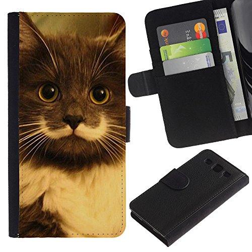 EuroCase - Samsung Galaxy S3 III I9300 - hamilton hipster cat moustache longhair - Cuero PU Delgado caso cubierta Shell Armor Funda Case Cover