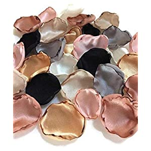 Blush pink silver ivory champagne black gold and rose quartz mix of 100 flower petals 84
