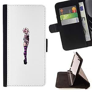 - Queen Pattern FOR Samsung Galaxy S6 /La identificaci????n del cr????dito ranuras para tarjetas tir????n de la caja Cartera de cuero cubie - purple suicide girl white woman chick