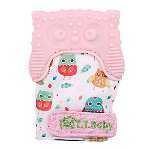 Teething Mitten Owl Teething Toy for Babies Self-Soothing Pain Relief and Teething Mitt BPA FREE Safe Food Grade Teething Mitt for 3 Months+ (Pink, One Mitten) by T.T.B