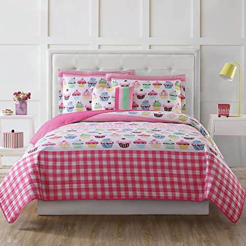 4 Piece Colorful Yummy Cupcake Patterned Hypoallergenic Quilt Set Full Size, Printed Graphic Cupcakes Geometric Checkered Bedding, Girls Modern Bedroom Style, Classic Plaid Pastry Baking Design, Pink
