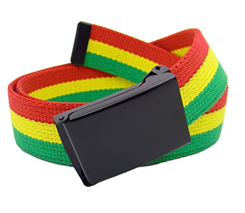 Rasta Stripe - Men's Black Flip Top Military Belt Buckle with Canvas Web Belt Small Rasta Stripe