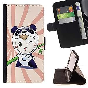 Jordan Colourful Shop - Cute Panda Warrior For Sony Xperia m55w Z3 Compact Mini - < Leather Case Absorci????n cubierta de la caja de alto impacto > -