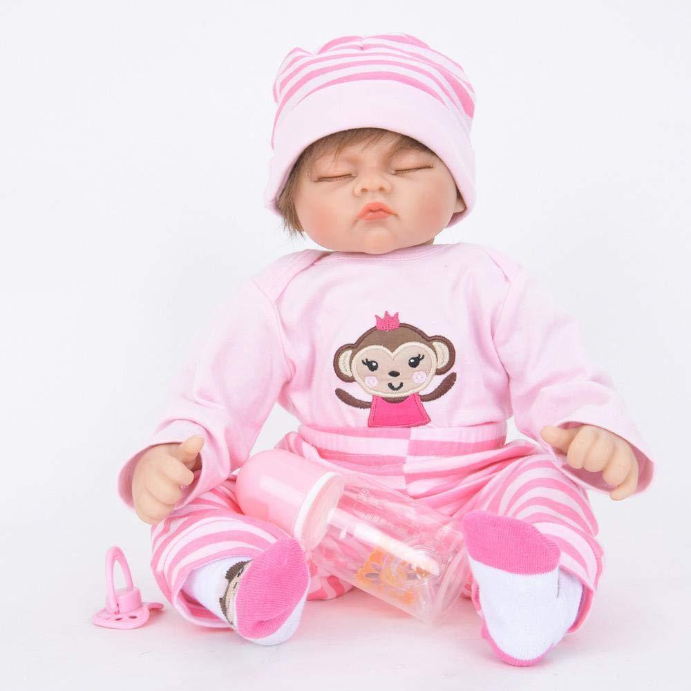 Hongge Reborn Baby Doll,Se ve una muñeca renacida de Silicona Realista Muñeca renacida de la Pareja de Crecimiento del bebé 55cm