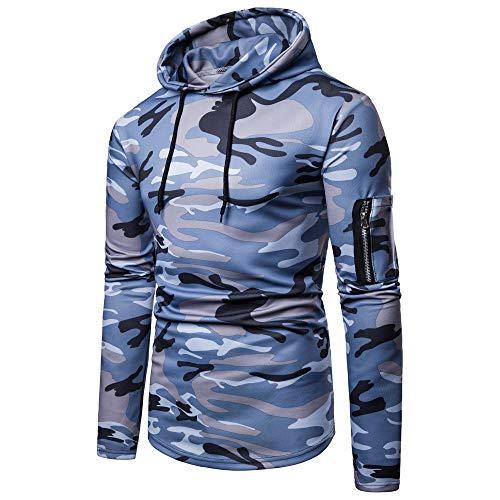 (Toimothcn Mens Camouflage Hoodies Sweatshirts Casual Slim Fit Zip Hooded Pullover Blouse Top (Blue,XXL))