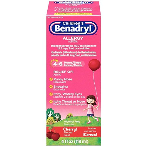 Children's Benadryl Antihistamine Allergy Relief, Liquid, Cherry Flavored, 4 (Childrens Benadryl)