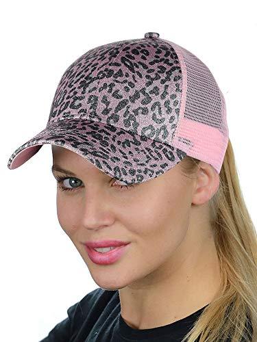 C.C Ponycap Messy High Bun Ponytail Adjustable Glitter Mesh Trucker Baseball Cap, Leopard Rose/Pink