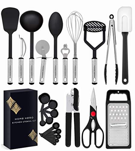Home Hero Kitchen Utensil Set – Nylon Cooking Utensils – Kitchen Utensils with Spatula – Kitchen Gadgets Cookware Set…