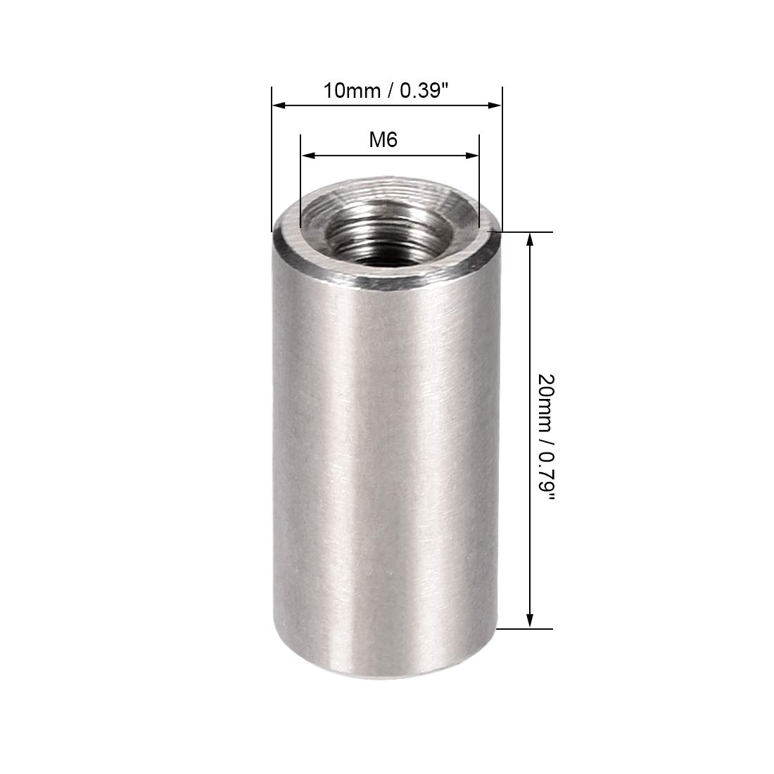 Pack of 10 Stainless Steel 304 M3x8mm Height Sleeve Rod bar Stud Nut sourcing map Round Connector Nuts