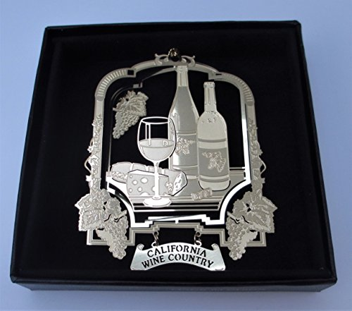 California Wine Country Brass Ornament Black Leatherette Gift - California Ornaments