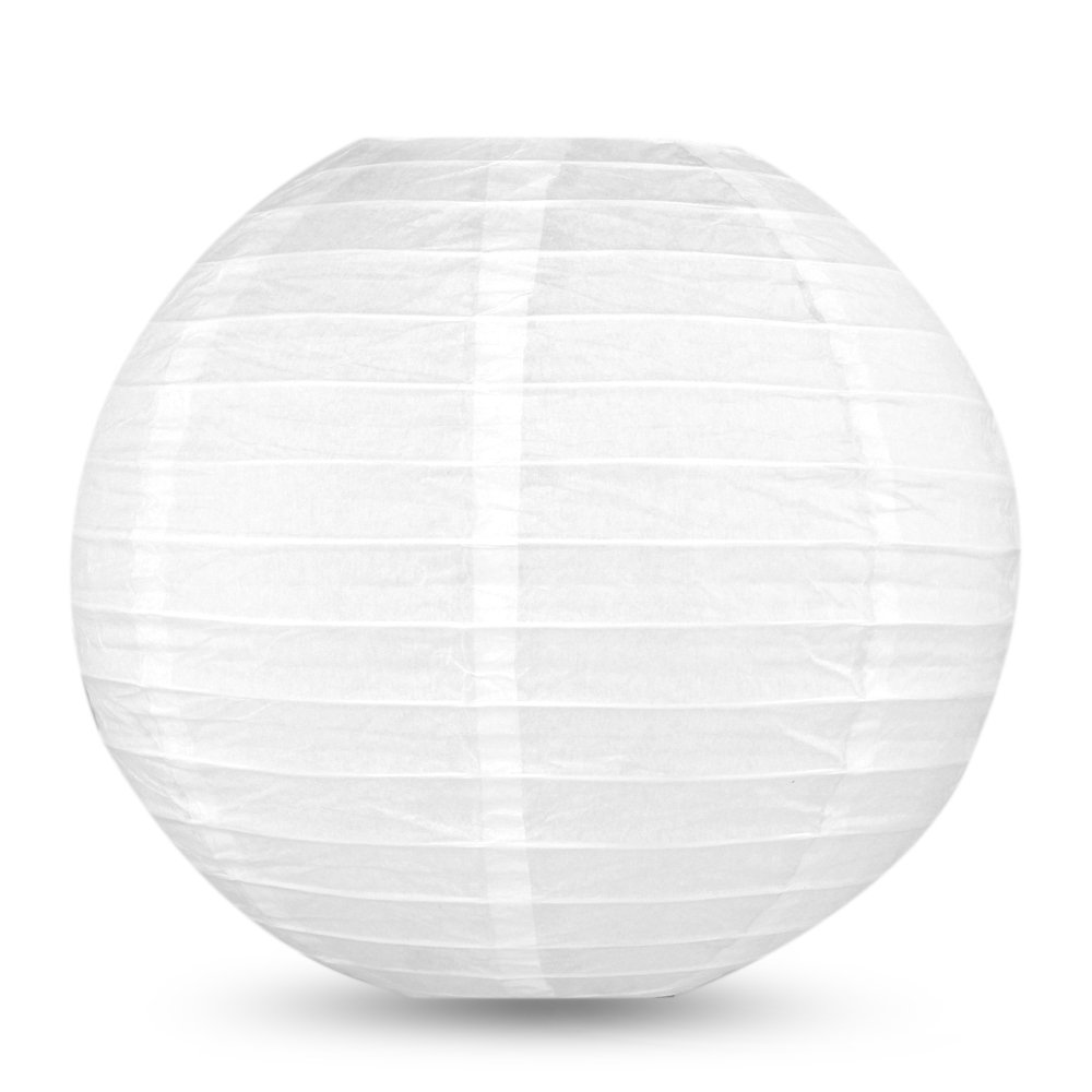 Flexzion Round Paper Lanterns White 10'' Diameter (5 Pack) Hanging Lamp Expander with Metal Hook for Wedding Party Festival Home Indoor Outdoor Decoration