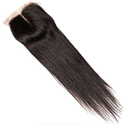 """Lanyi Hair Middle Part Human Hair Lace Closure Brazilian Hair Straight 130% Density Natural Black Color 12"""""""