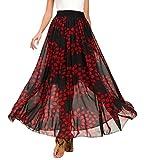 Urban CoCo Women's Fashion Chiffon High-Waist Summer Long Maxi Skirt (M, 3)