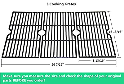 VICOOL hyG117C Glossy Porcelain Coated Cast Iron Cooking Grid Grates Replacement for Select Charbroil 463344015 Gas Grill, Set of 3