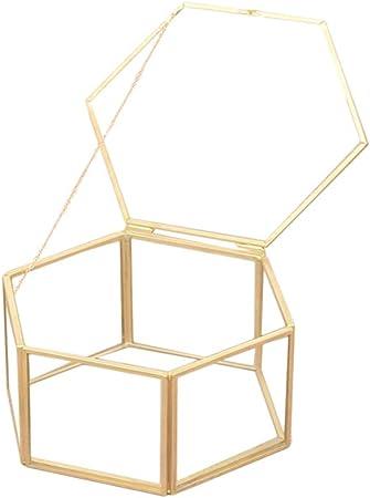 Amosfun Joyero de Almacenamiento geométrico con Caja de Cristal para Regalo de Boda o Fiesta: Amazon.es: Hogar
