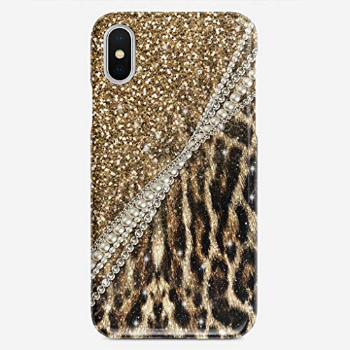 JIUYHG Personalize Compatible with iPhone X Case Beautiful Chic Girly Leopard Animal Faux Fur Print Speck Super Slim Back Cover Hard Plastic Protector Case Stylish Design for Apple iPhone X 5.8 inch