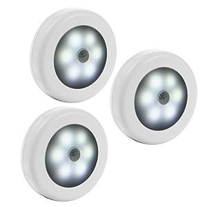 Litake Motion-Sensing Battery Powered LED, Stick-on Nightlight, White