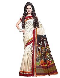 Shonaya Women`S Off White Colour Bhagalpuri Silk Woven Work Saree