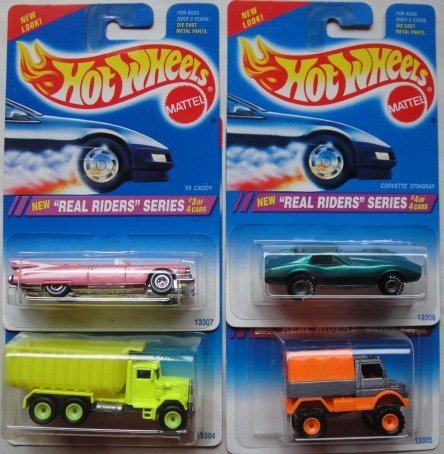 1995 Hot Wheels Real Riders Series Complete Set of 4! - Dump Truck, Mercedes-Benz Unimog,