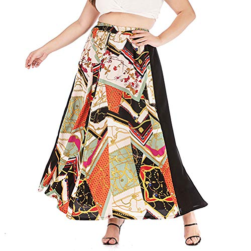Season 4 Women's Plus Size Chain Print Patchwork Skirt High Waist A line Boho Long Skirts Multicolor,5XL