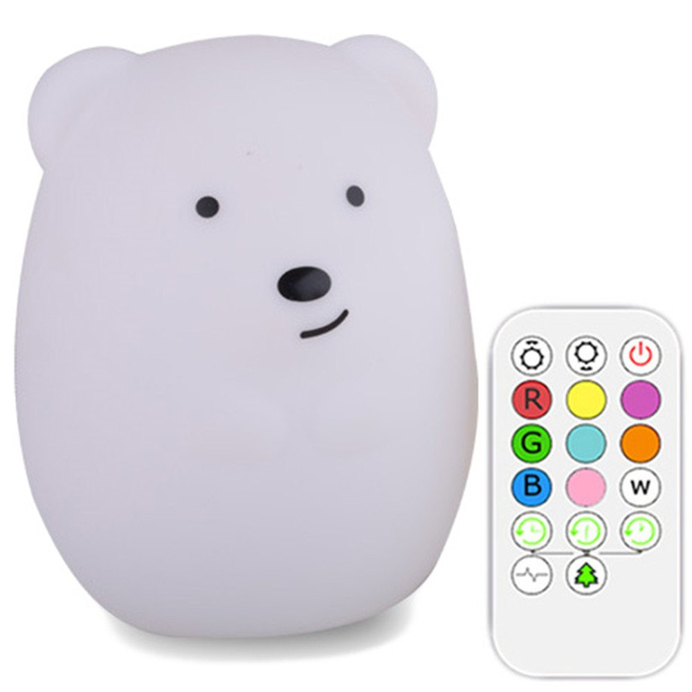 Xmeilo Cute Animal Rechargeable Silicone Baby LED Nursery Night Lights Lamp with Touch Sensor, Remote Control and Timer Bear